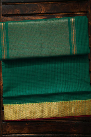 Pine Green Handwoven Mangalagiri Cotton Saree