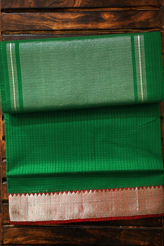 Green with Silver Zari Border Handwoven Mangalagiri Cotton Saree