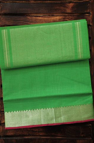 Green with pink Mangalagiri Cotton Saree