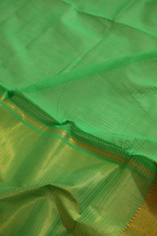Light Green with Temple Border Mangalagiri Cotton Saree
