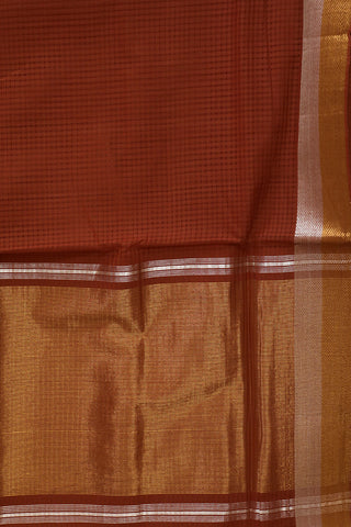 Brown with Gold Zari Border Handwoven Mangalagiri Cotton Saree