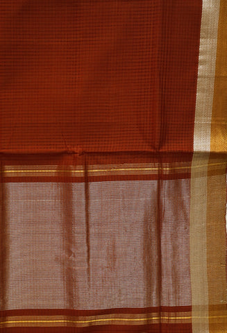 Rust Brown Handwoven Mangalagiri Cotton Saree