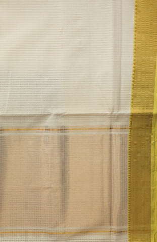 Off White with Yellow Zari Border Handwoven Mangalagiri Cotton Saree