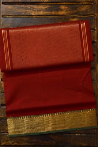 Maroon with Green Handwoven Mangalagiri Cotton Saree