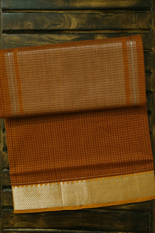 Yellowish Brown Handwoven Mangalagiri Cotton Saree