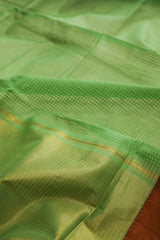 Light Green Handwoven Mangalagiri Cotton Saree