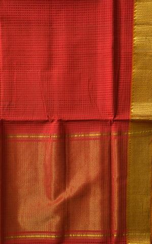 Pink with Orange Zari Border Handwoven Mangalagiri Cotton Saree