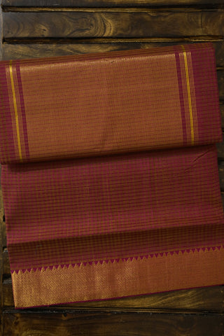 Double Shade Pinkish Purple Handwoven Mangalagiri Cotton Saree