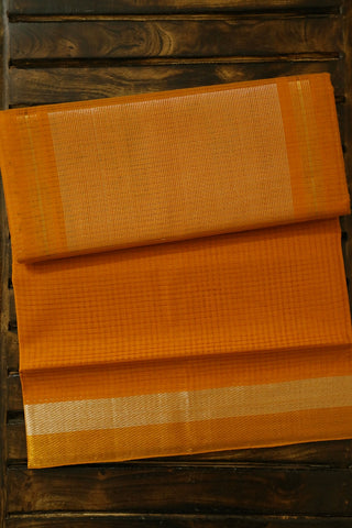 Golden Yellow Handwoven Mangalagiri Cotton Saree