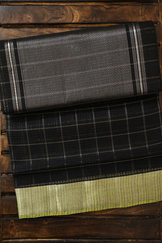Black with Silver Checks Handwoven Mangalagiri Cotton Saree