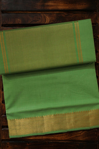Green with Temple Border Handwoven Mangalagiri Cotton Saree