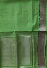 Light Green with Silver Zari Border Mangalagiri Cotton Saree
