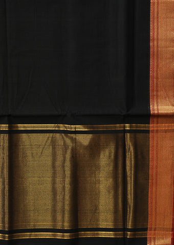 Black with Maroon Traditional Border Mangalagiri Cotton Saree