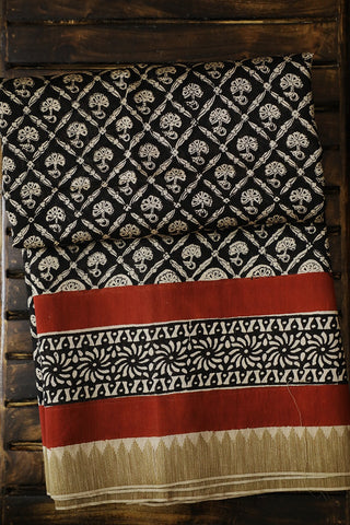 Black with Beige Floral Checks Gicha Border Chanderi Saree