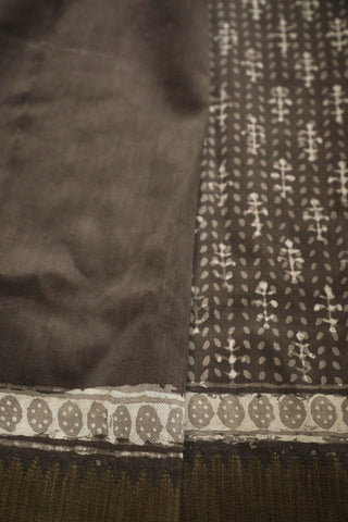 Grey with White Gicha Border Chanderi Saree
