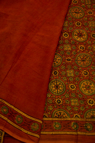 Maroon with Yellow Circles Ajrak Cotton Saree
