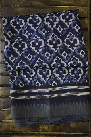 Indigo with Off White Temple Gicha Border Chanderi Saree