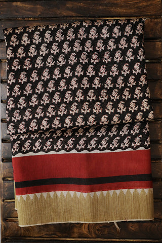 Black with Beige Floral Gicha Border Chanderi Saree