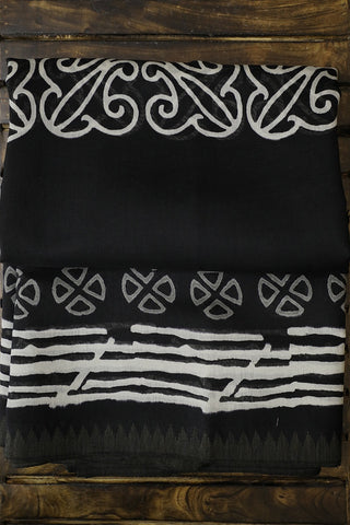 Black with Grey and Off White Gicha Border Chanderi Saree