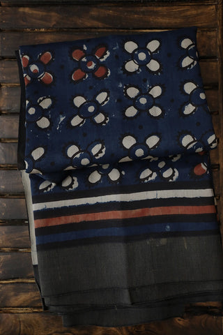 Indigo with Plain Gicha Border Chanderi Saree