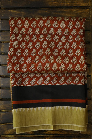 Beige Floral in Maroon Gicha Border Chanderi Saree