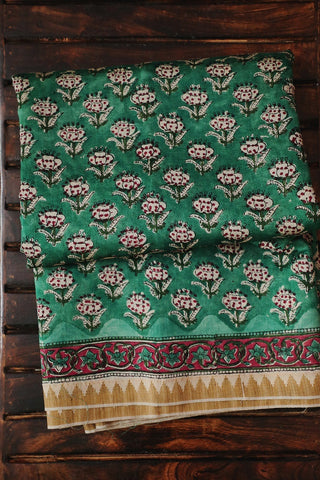 Green with Off White Floral Gicha Border Chanderi Saree