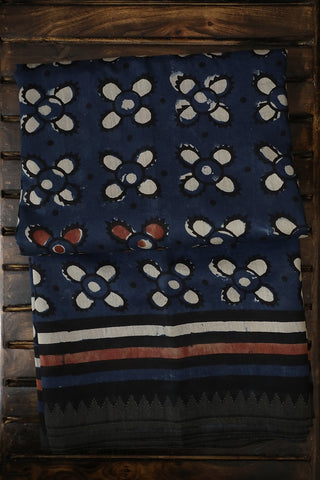 Indigo with Small Temple Gicha Border Chanderi Saree
