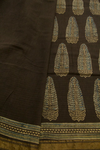 Dark Grey Ajrak Maheswari Saree