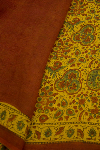 Yellow with Maroon Ajrak Linen Saree