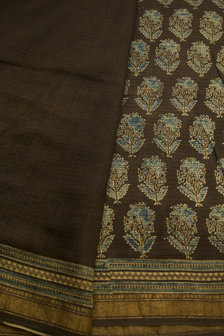 Soft Grey Floral Ajrak Maheswari Saree