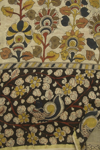 Cream with Black Floral Painted Kalamkari Chanderi Silk Cotton Saree