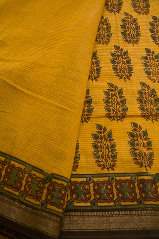 Mustard Yellow with Maroon Leaves Ajrak Maheswari Saree