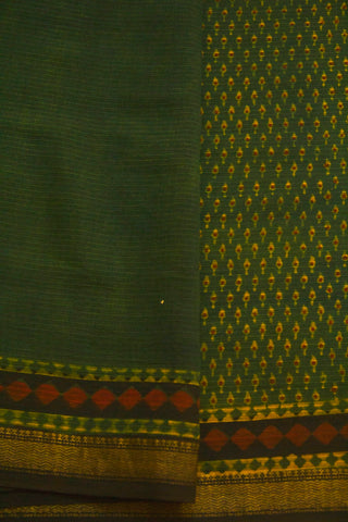 Subdued Green with Small Prints Ajrak Maheswari Saree