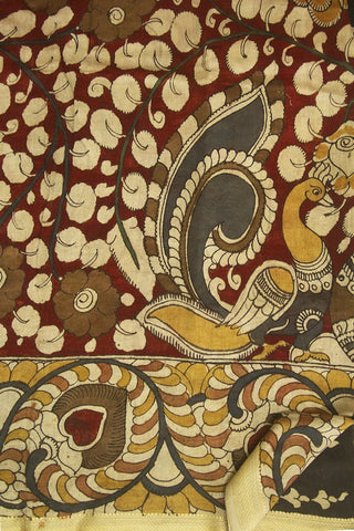 Maroon with Brown Floral Painted Kalamkari Chanderi Silk Cotton Saree