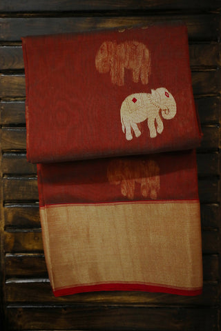 Double Shade Maroon Elephant Motif Chanderi Silk Cotton Saree