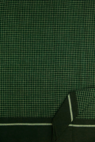 Dark Green Checkered Handwoven Cotton Saree