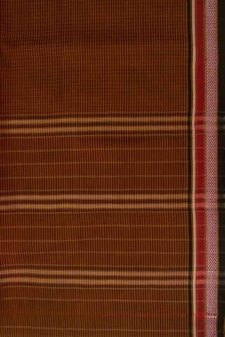 Brown with Black Thread Border Handwoven Cotton Saree