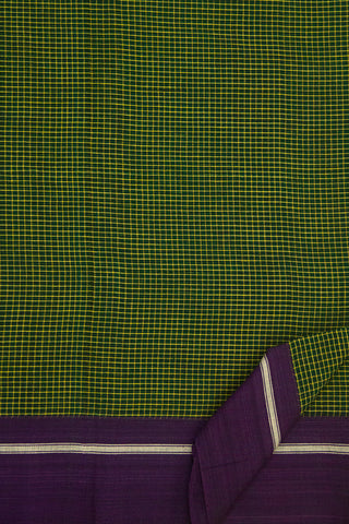 Green with Purple Border Handwoven Saree