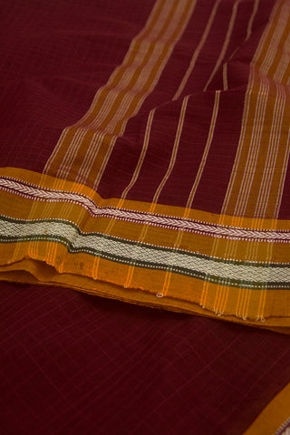 Yellow and White Thread Border Handwoven Cotton Saree