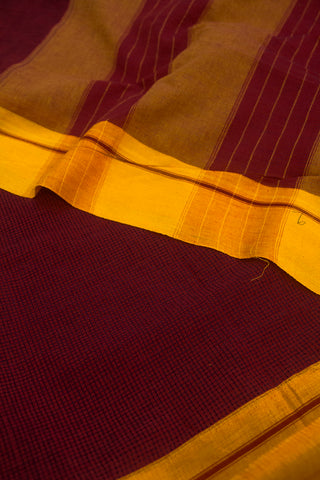 Pinkish Maroon with Yellow Border Handwoven Cotton Saree