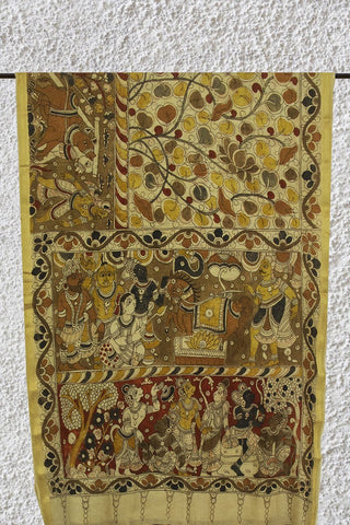 Off White with Village Theme Painted Kalamkari Chanderi Silk Cotton Saree