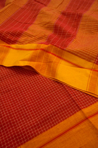 Red Checks with Yellow Border Handwoven Cotton Saree