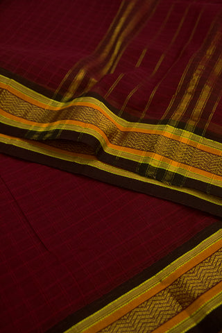 Dark Brownish Maroon with Black Zari Border Handwoven Cotton Saree