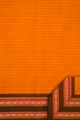 Mango Yellow with Brown and Red Border Handwoven Cotton Saree