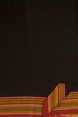 Plain Black with  Maroon Handwoven Cotton Saree with Blouse