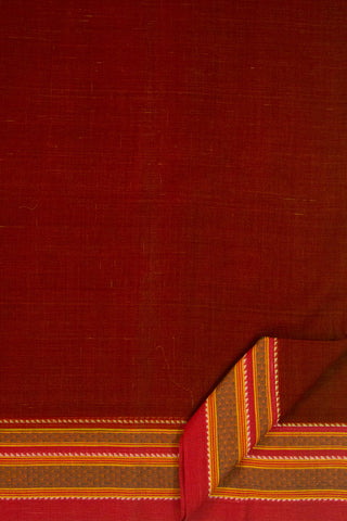 Rust Red Handwoven Cotton Saree with Blouse