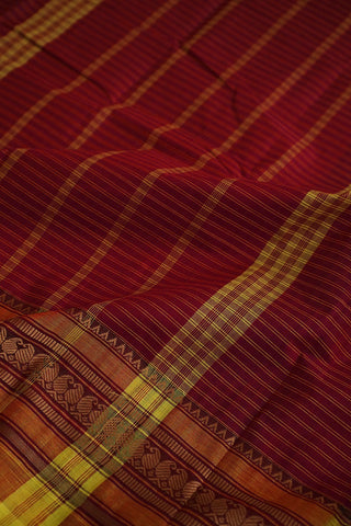 Pinkish Maroon With Yellow Checks Kanchi Cotton Saree
