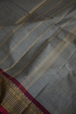 Grey with Pink Border Kanchi Cotton Saree