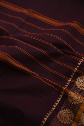 Dark Brown with Mustard Kanchi Cotton Saree