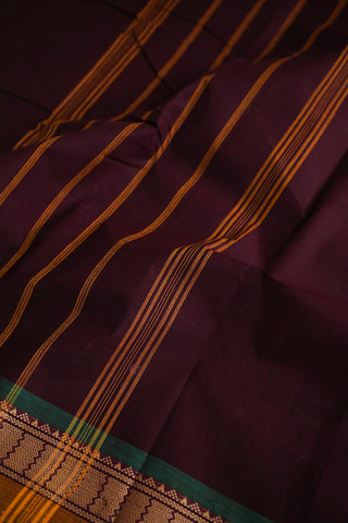 Dark Brown Purple Kanchi Cotton Saree